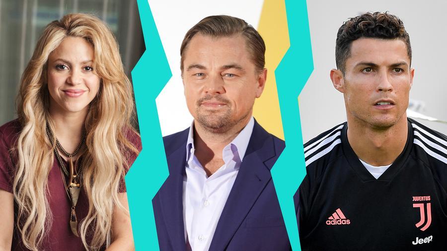 Shakira, Leonardo DiCaprio y Cristiano Ronaldo
