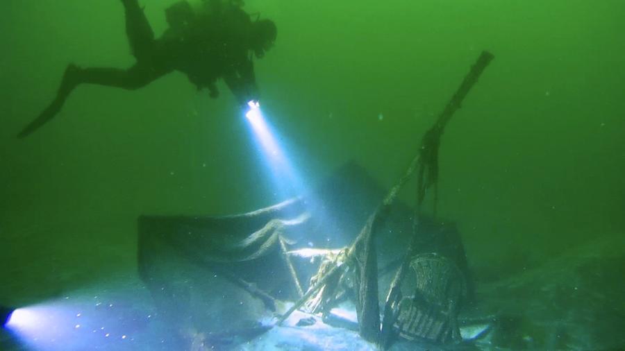 Fotografía de archivo de un naufragio submarino