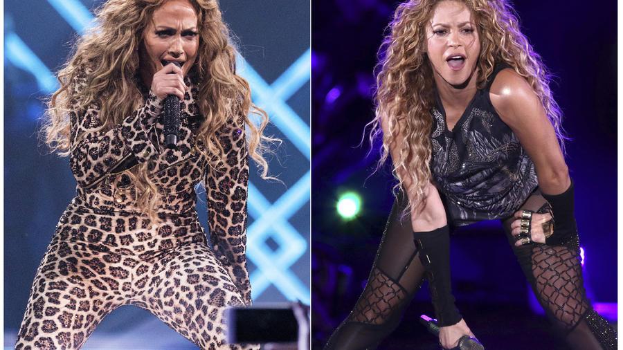 Jennifer López y Shakira durante el Directv Super Saturday Night, en Minneapolis.