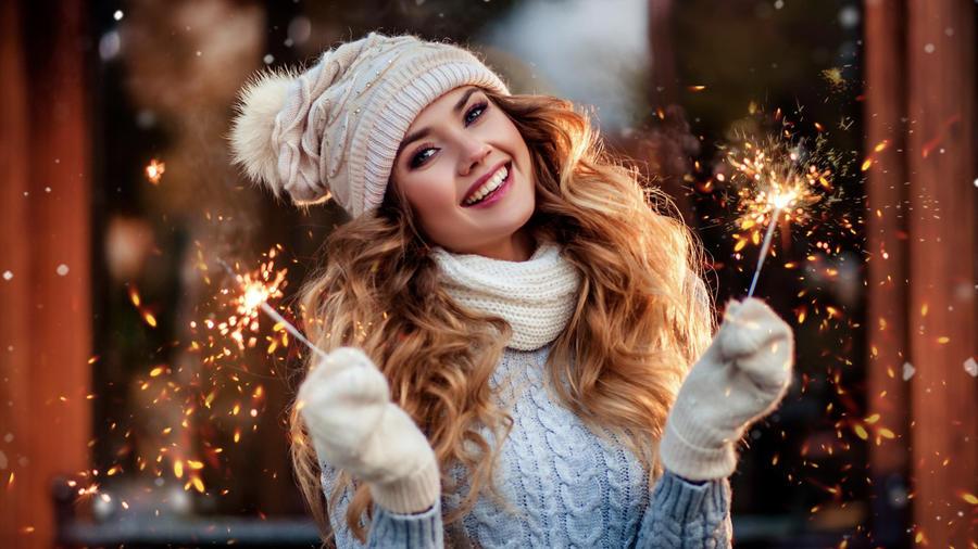 Mujer en Año nuevo
