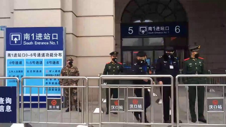 La estación de trenes de Wuhan, cerrada por el coronavirus.