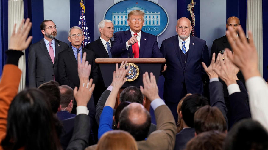 El presidente, Donald Trump, este sábado en conferencia de prensa en la Casa Blanca sobre el coronavirus.