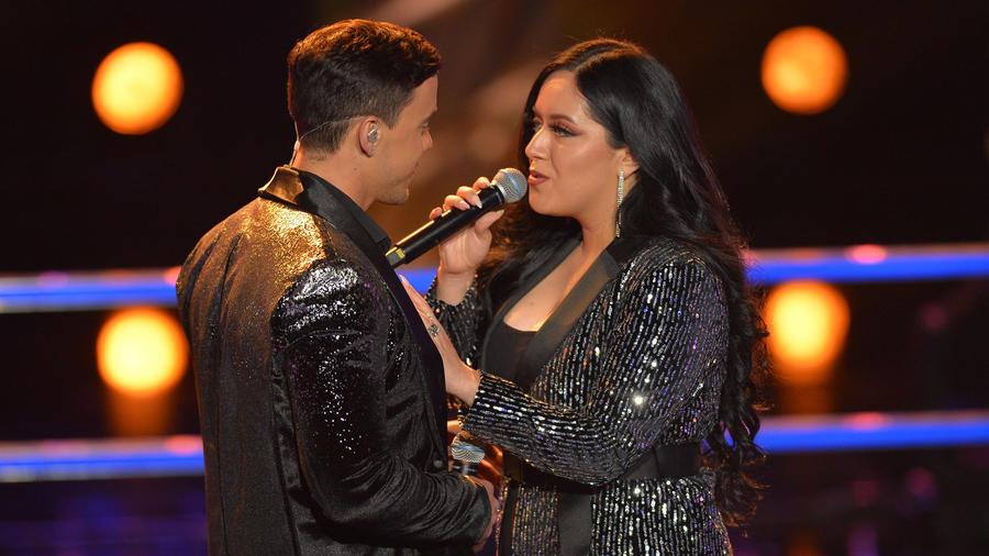 Janine Rivera y Carlos Salazar en las batallas de La Voz US 2