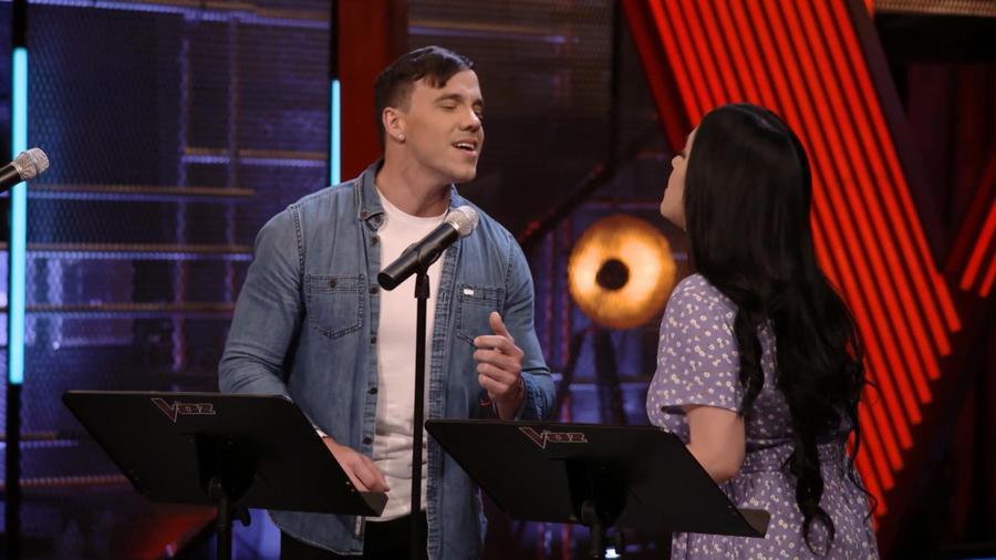 Janine Rivera y Carlos Salazar en los ensayos previos a las batallas de La Voz US 2