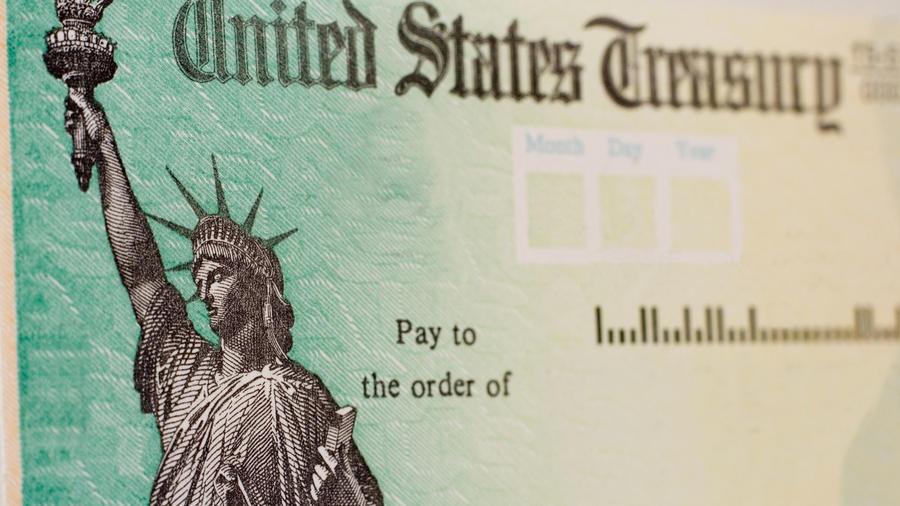 Cheque emitido por el departamento del Tesoro de Estados Unidos