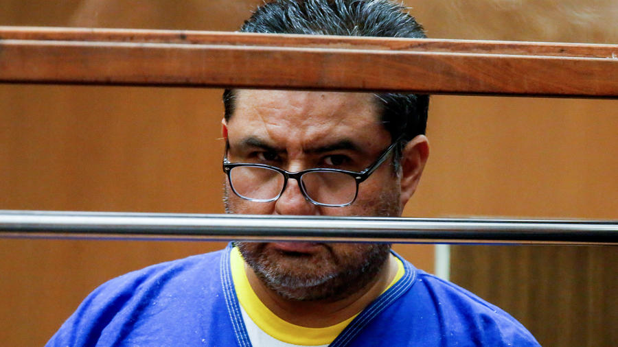 Naason Joaquin Garcia, the head of a Mexican-based church estimated to have more than 1 million followers worldwide, appears in court in Los Angeles