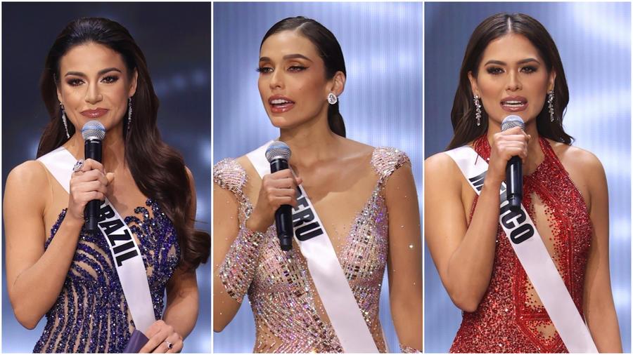 Miss Brasil, Miss Perú y Miss México en su discurso final en Miss Universo 2021, 69 edición