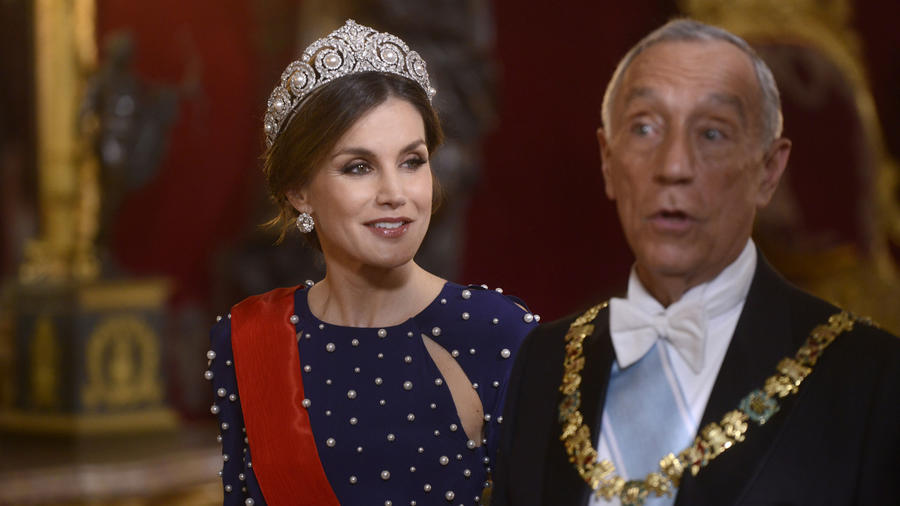 Letizia Ortiz en cena de gala con el presidente de Portugal