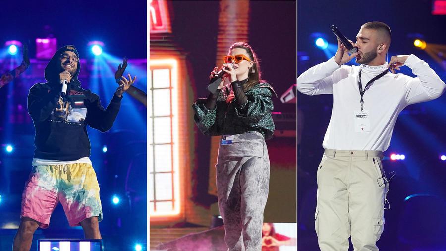 Maluma, Joy Huerta y Manuel Turizo durante los ensayos de Premios Billboard 2020