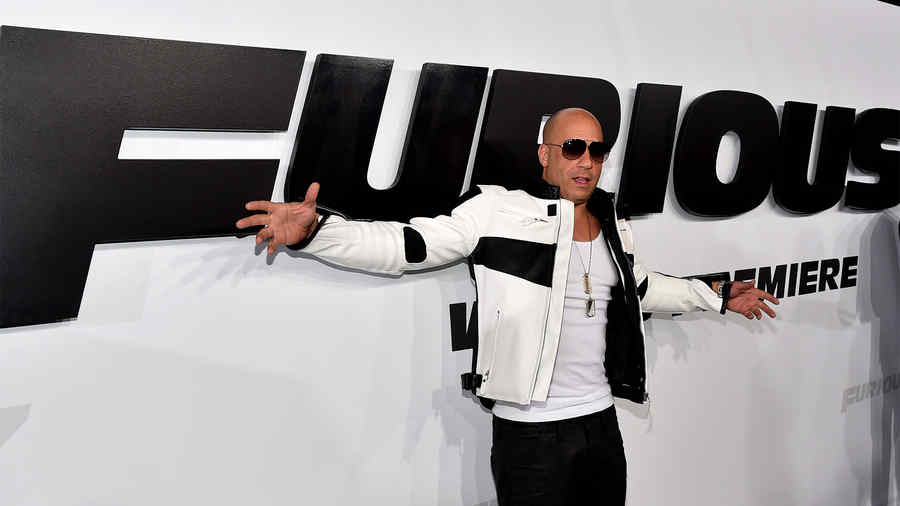 "Vin Diesel en la premiere mundial de la película ""Furious 7""."