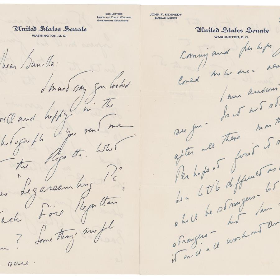 Una carta de amor que John F. Kennedy le escribió a una amante sueca unos años después de casarse con Jackie Onasis.