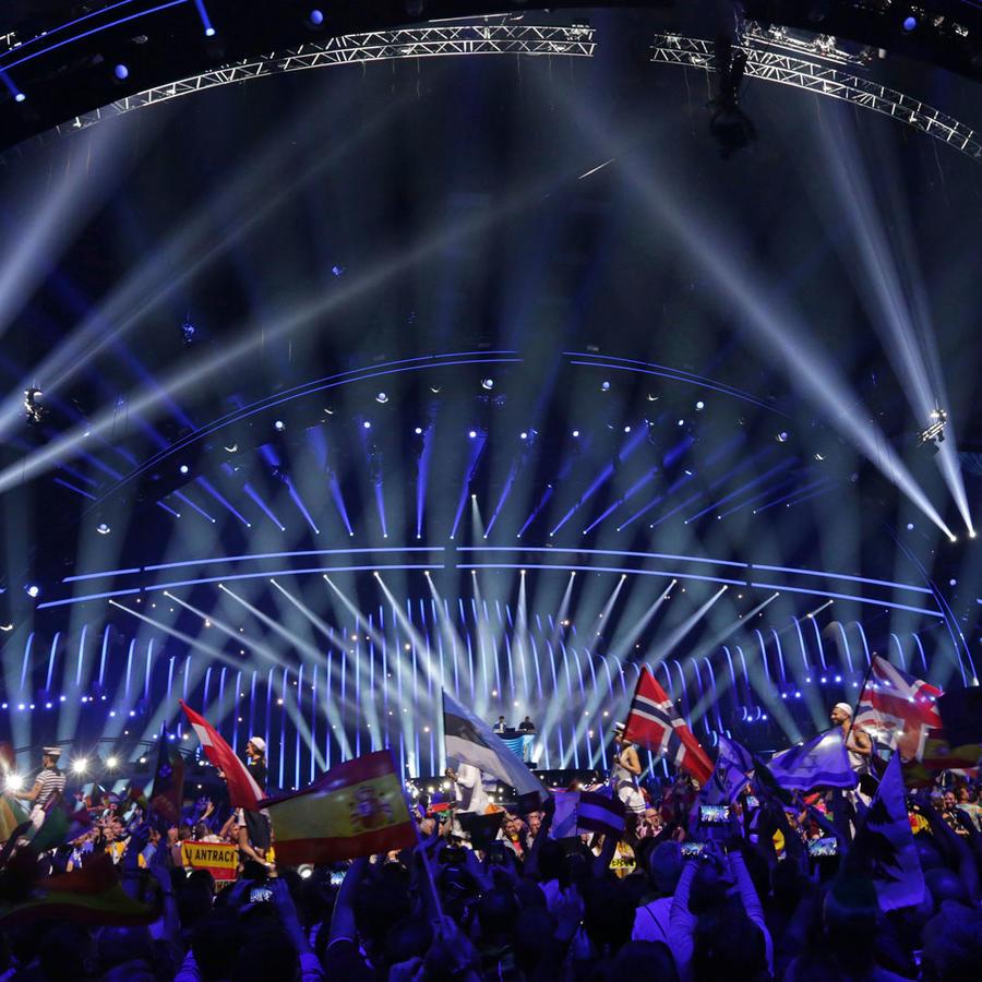 Banderas de los participantes en la edición del festival de Eurovisión que se celebró este año en Lisboa, Portugal