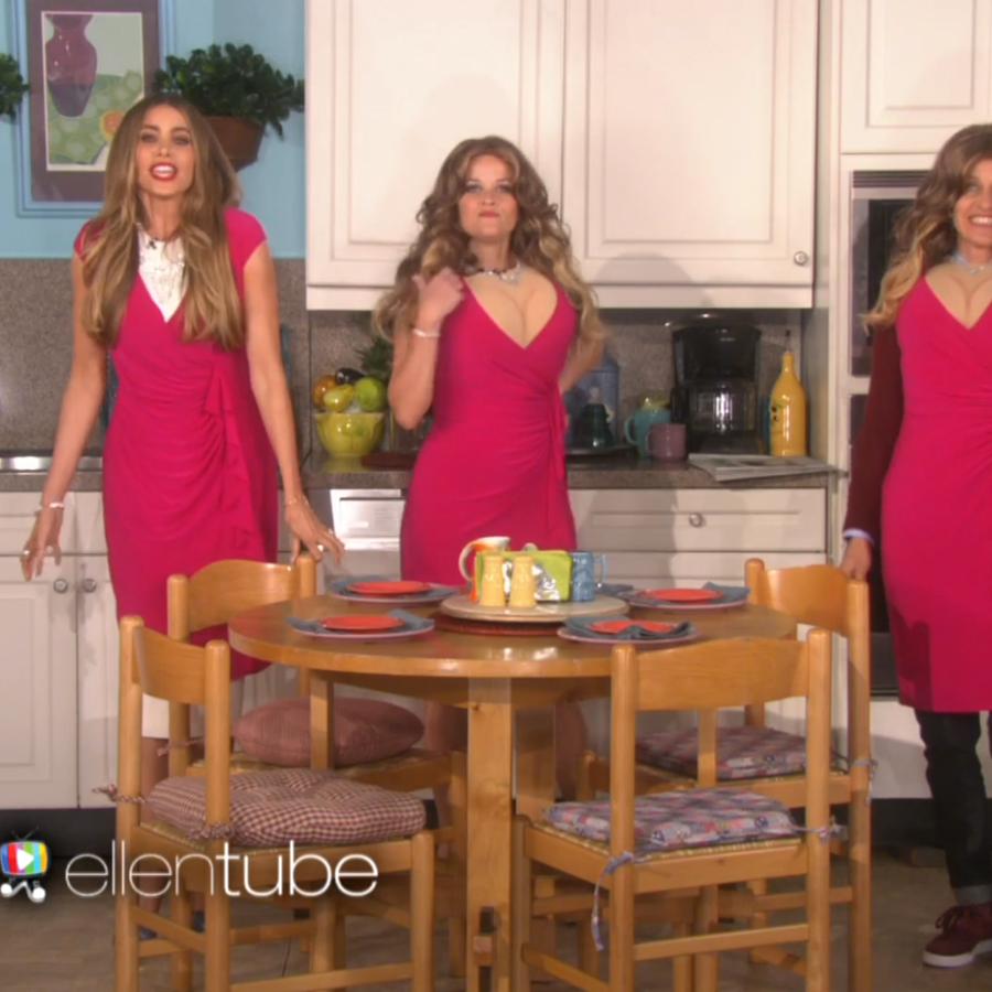 """Sofía Vergara, Ellen DeGeneres y Reese Whitherspoon en el sketch """"The Three Sofias"""""""