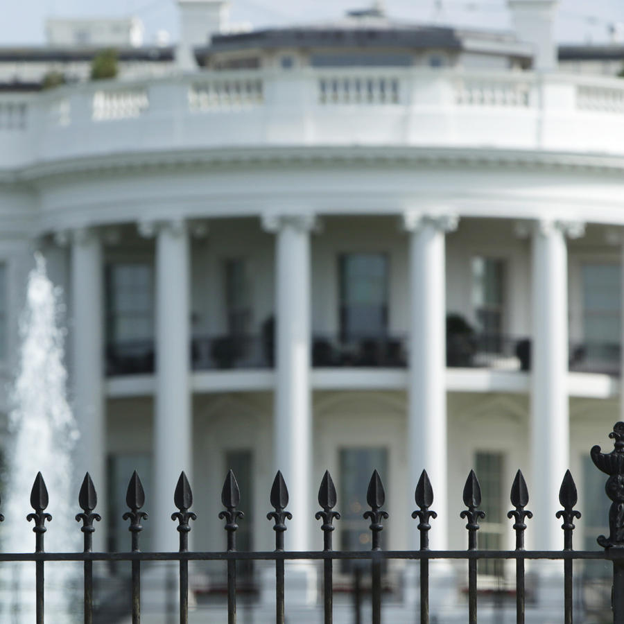 Original South Lawn fencing is seen before anti-climb White House perimeter fencing installation at the White House in Washington