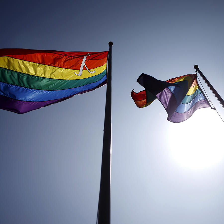 LGBT lambda equality flags fly in West Hollywood