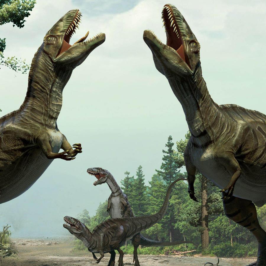 Esta ilustración de Lida Xing y Yujiang Han de enero de 2016 muestra a dinosaurios en un rito de apareamiento, de acuerdo con rastros fósiles hallados en Colorado.