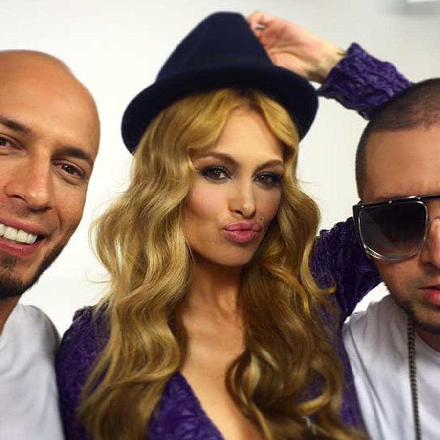 Paulina Rubio y Alexis & Fido en la grabación del video 'Si te vas'