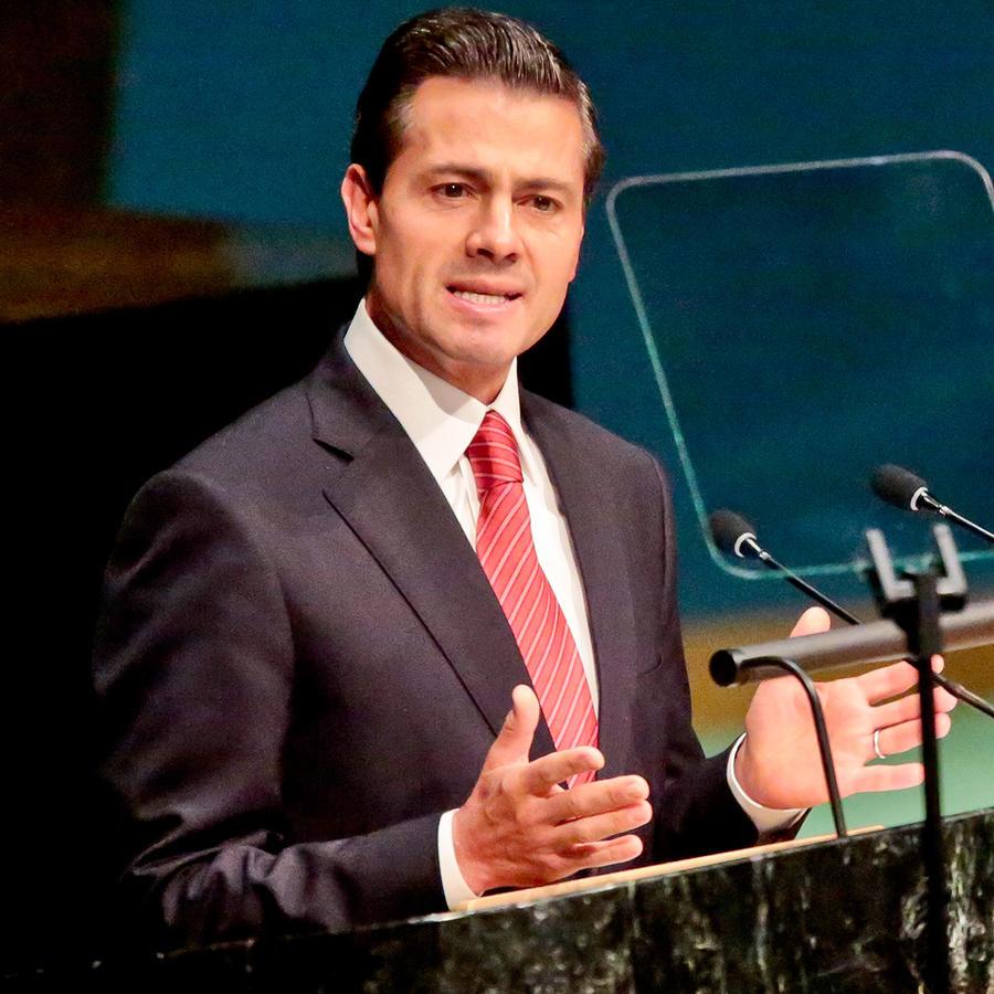 El presidente de México Enrique Peña Nieto ofrece un discurso durante la cumbre sobre drogas que se celebra en la sede de las Naciones Unidas, el martes 19 de abril de 2016.