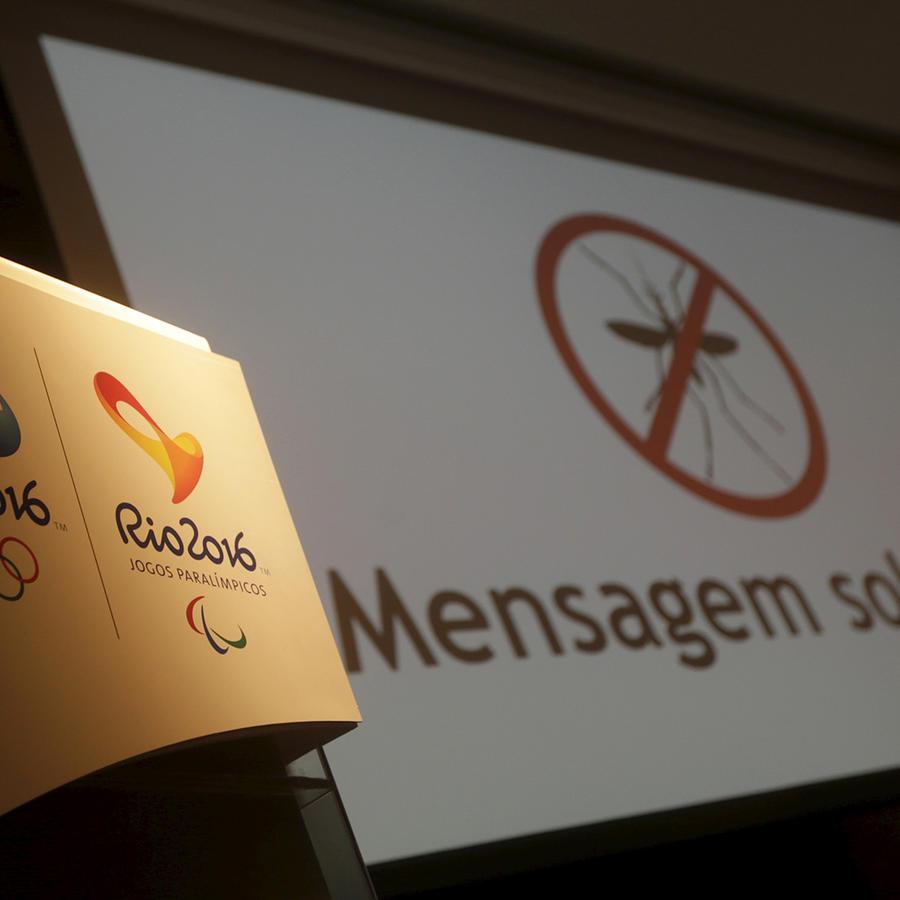 Logotipo de los Olímpicos de Rio durante conferencia de los organizadores sobre el Zika el martes 7 de Junio del 2016