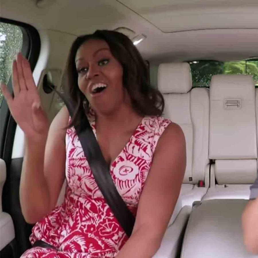 "Michelle Obama y James Corden en ""Carpool Karaoke"""