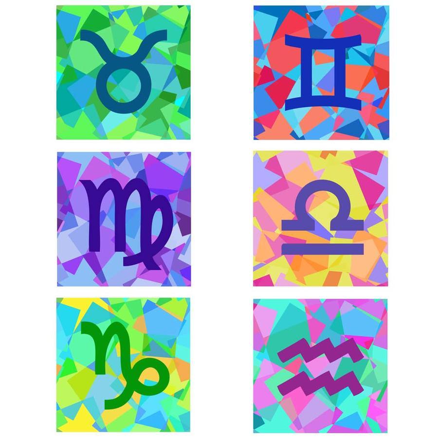 Signos del zodíaco multicolor