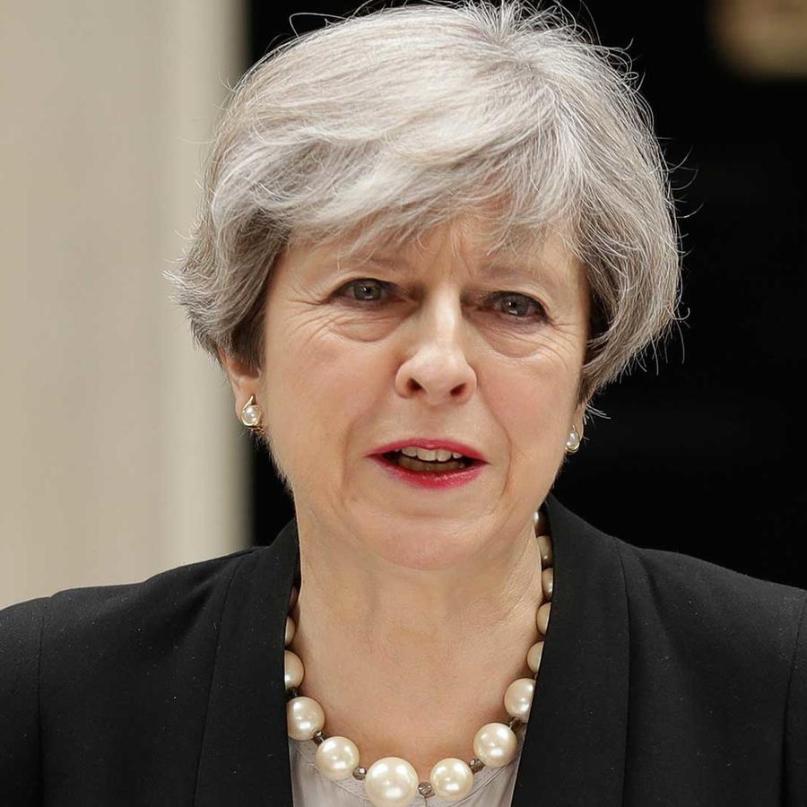 La primera ministra británica, Theresa May, en conferencia de prensa después del atentado en el concierto de Ariana Grande que dejó 22 muertos