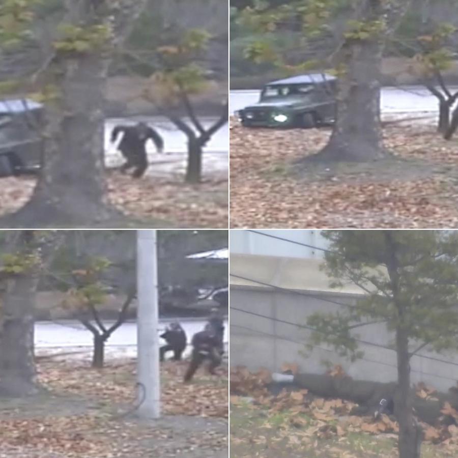 La secuencia del soldado norcoreano que escapa al Sur.