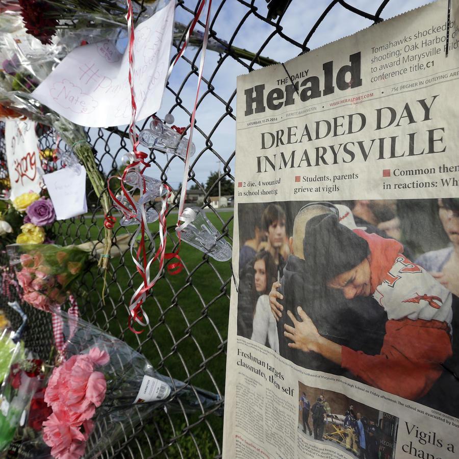 Homenaje en octubre de 2014 tras una matanza en la escuela de Marysville Pilchuck, en Washington.