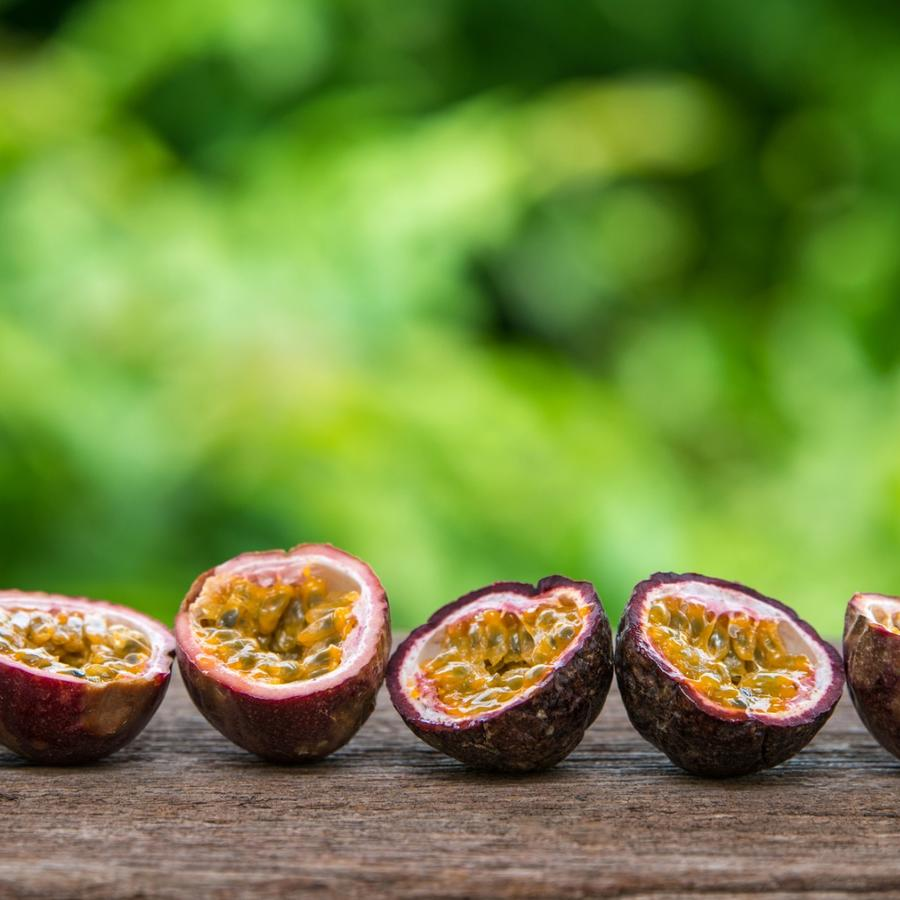 Pieces of passion fruit on a plate.