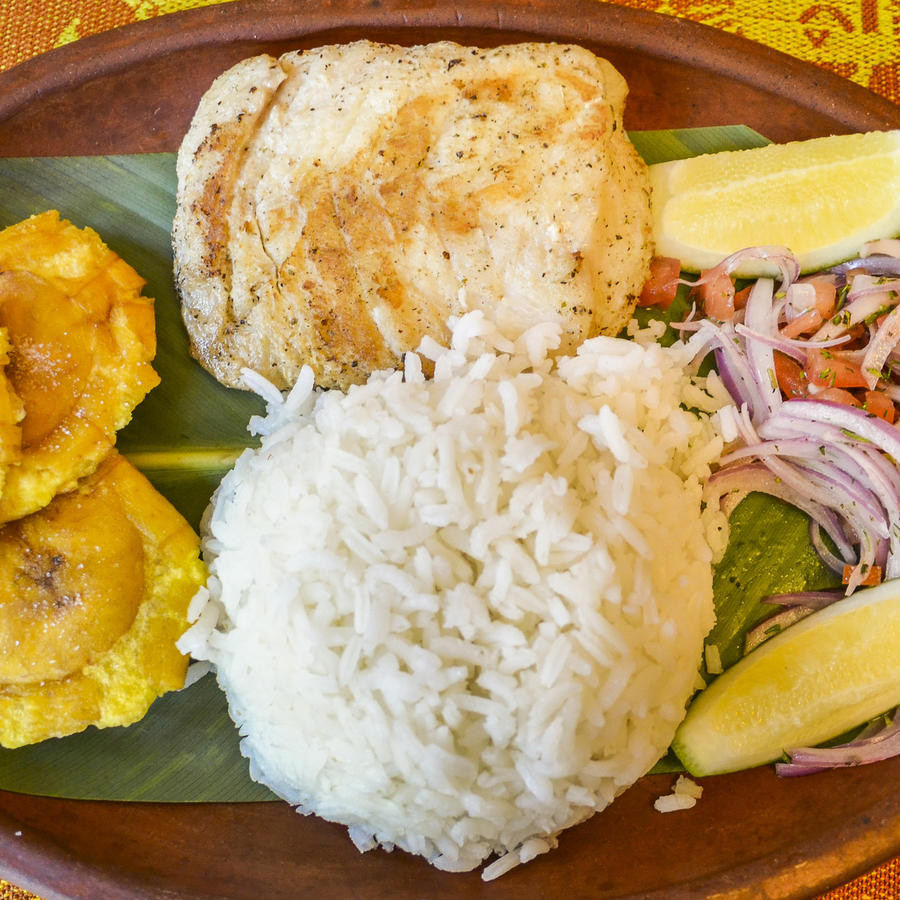 Ecuadorian dish with rice, plantains, and chicken