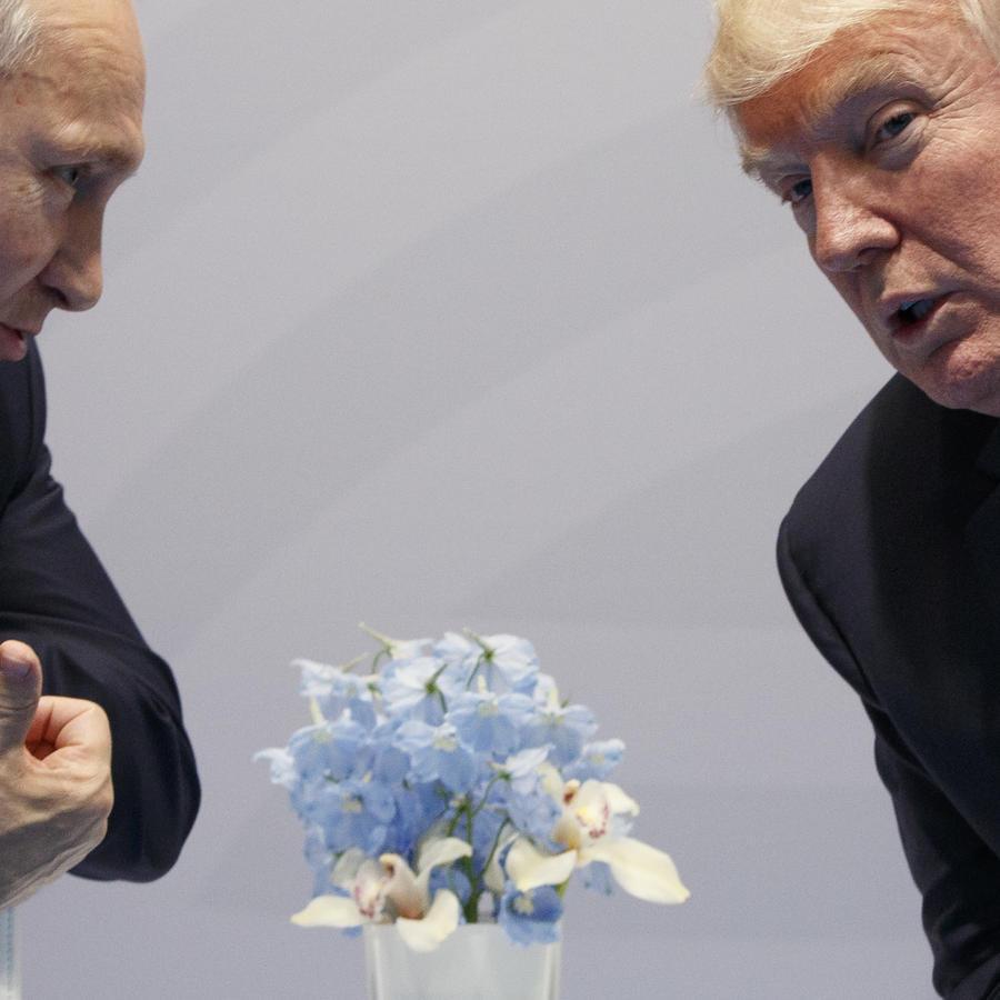 Donald Trump en un encuentro con el presidente ruso, Vladimir Putin, durante la cumbre del G20, el 7 de julio de 2017, en Hamburgo, Alemania.