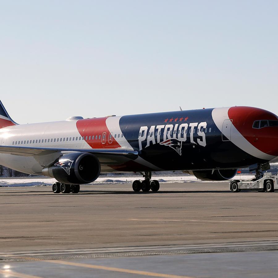 El avión de los Patriots de Nueva Inglaterra en Minneapolis el 29 de enero de 2018