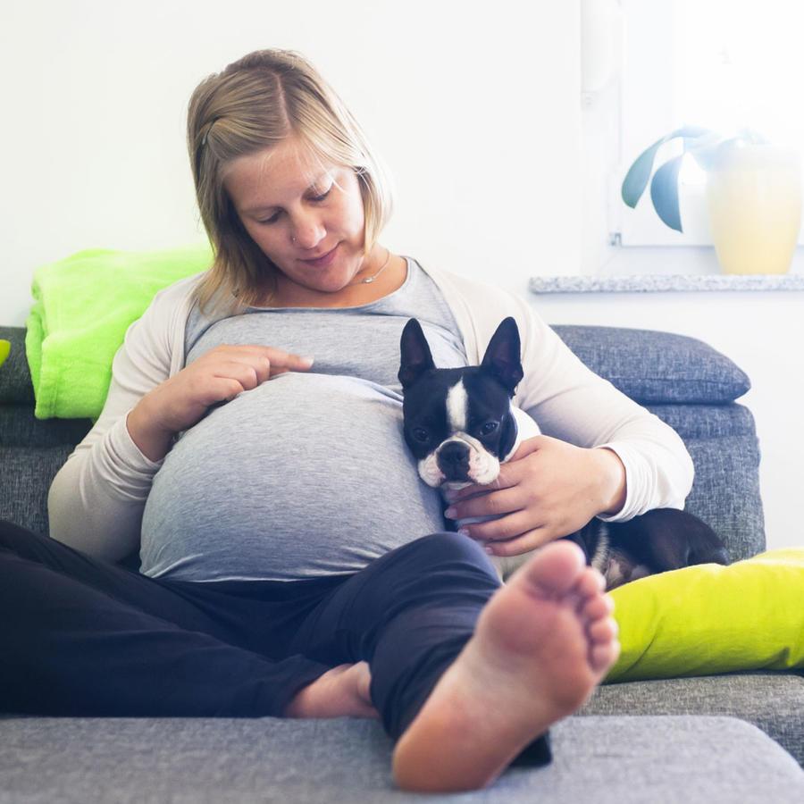 Mujer embarazada sentada con su perro