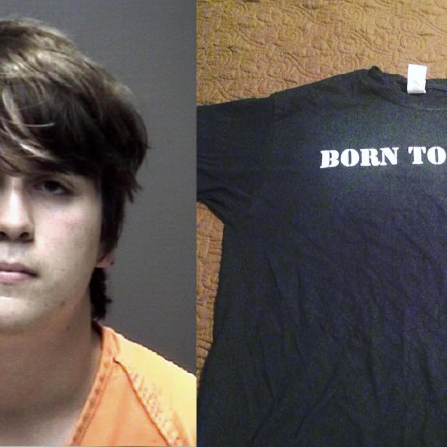 """Dimitrios Pagourtzis, tras su detención, y la foto de la camiseta de """"Nacido para matar"""" que publicó en Facebook."""