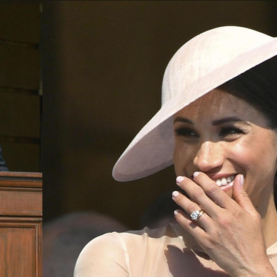 El príncipe Harry durante su discurso y, a la derecha, la reacción de su esposa tras el 'ataque' de una abeja.