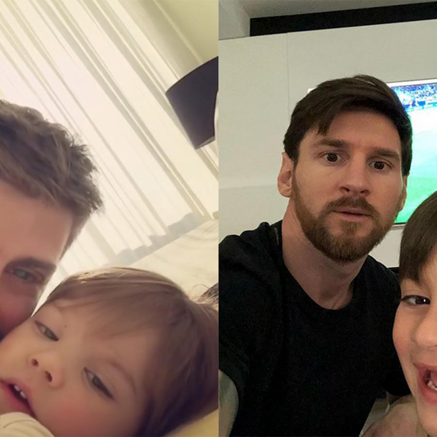 Lionel Messi and Gerard Pique selfies with their kids