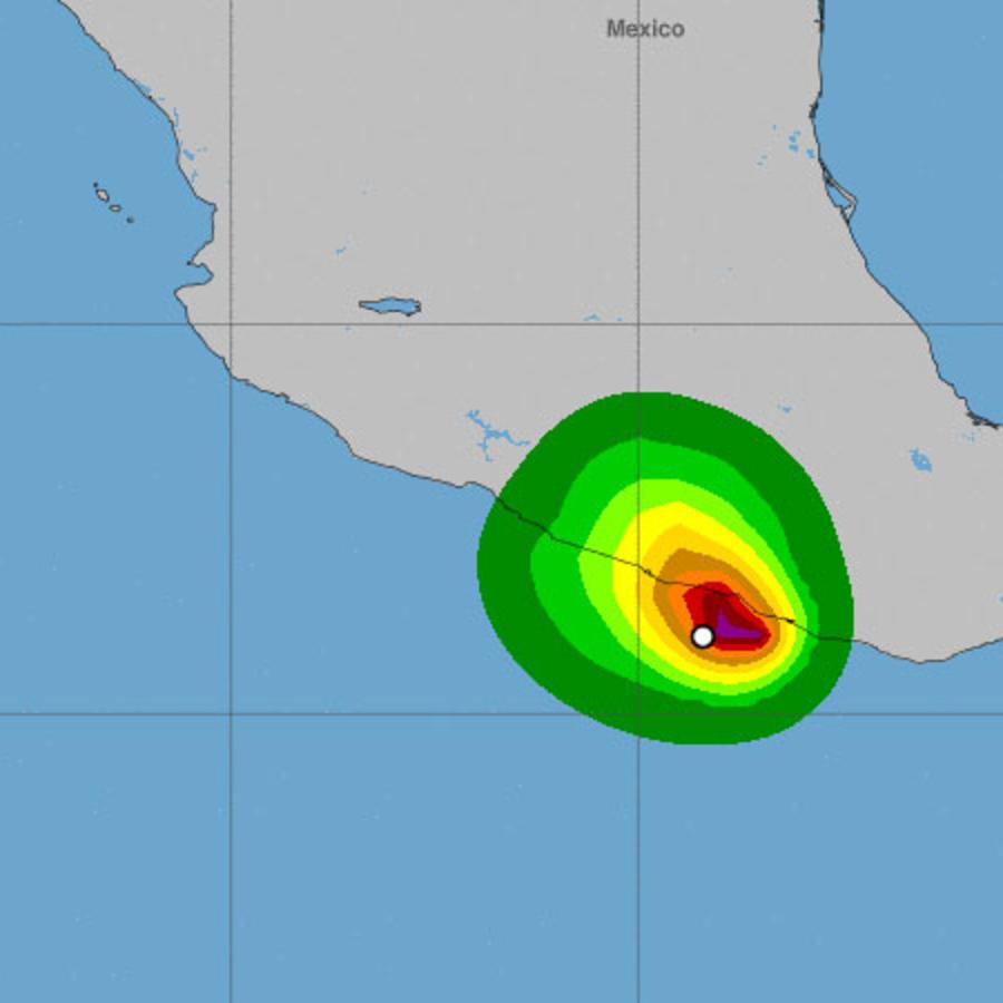 Mapa de la tormenta Carlotta sobre el Pacífico de México