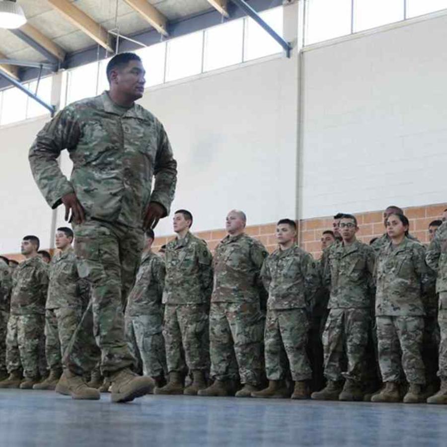 Miembros de la Guardia Nacional en Texas el pasado abril.