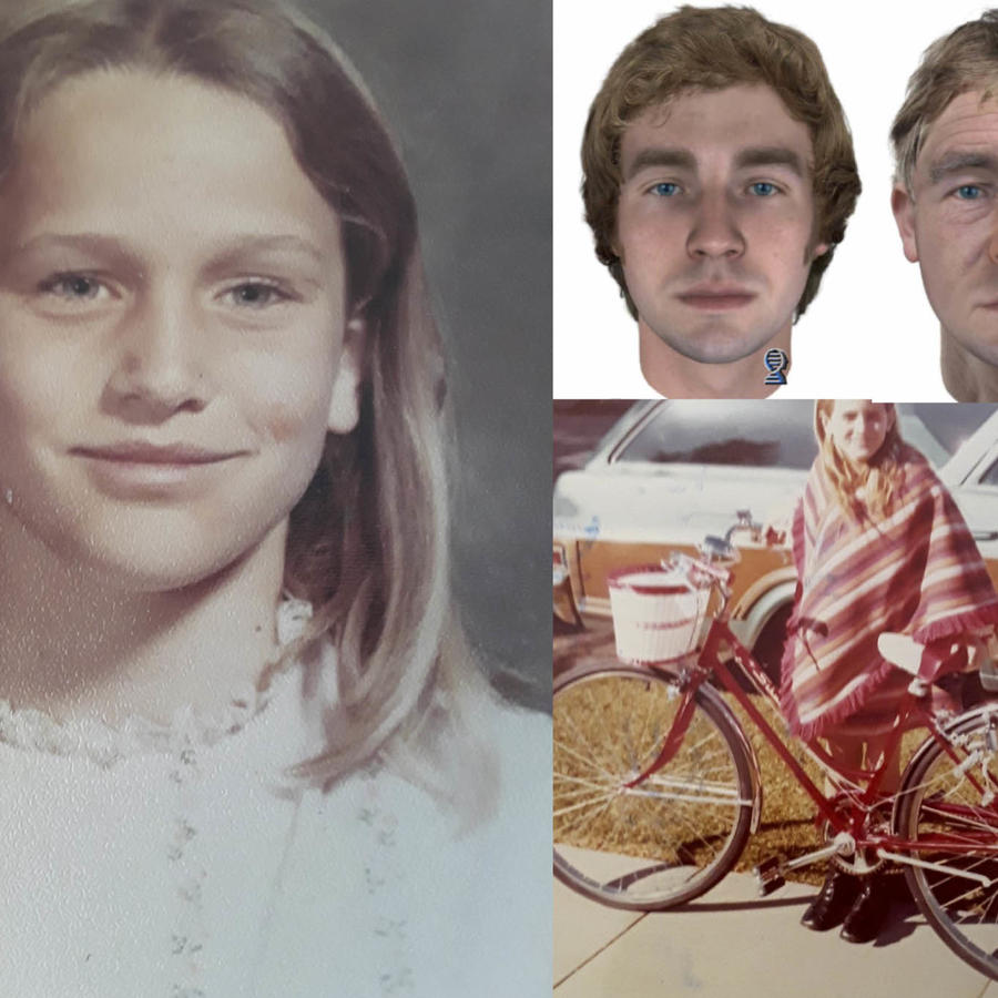 Linda Ann O'Keefe, en dos imágenes proporcionadas por la policía, y el retrato del sospechoso cuando tenía 25 años y como sería ahora, 45 años después.