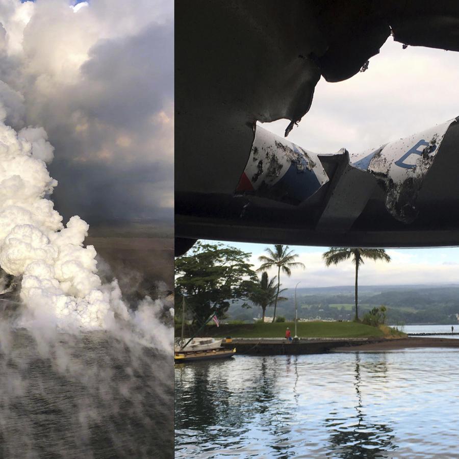 A la izquierda, la lava llega al océano en Hawaii en junio. A la izquierda, el agujero causado por la explosión del volcán en el barco turístico este lunes.