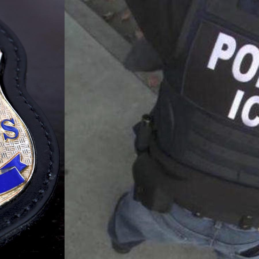Imágenes de archivo de una placa y de un agente de ICE.
