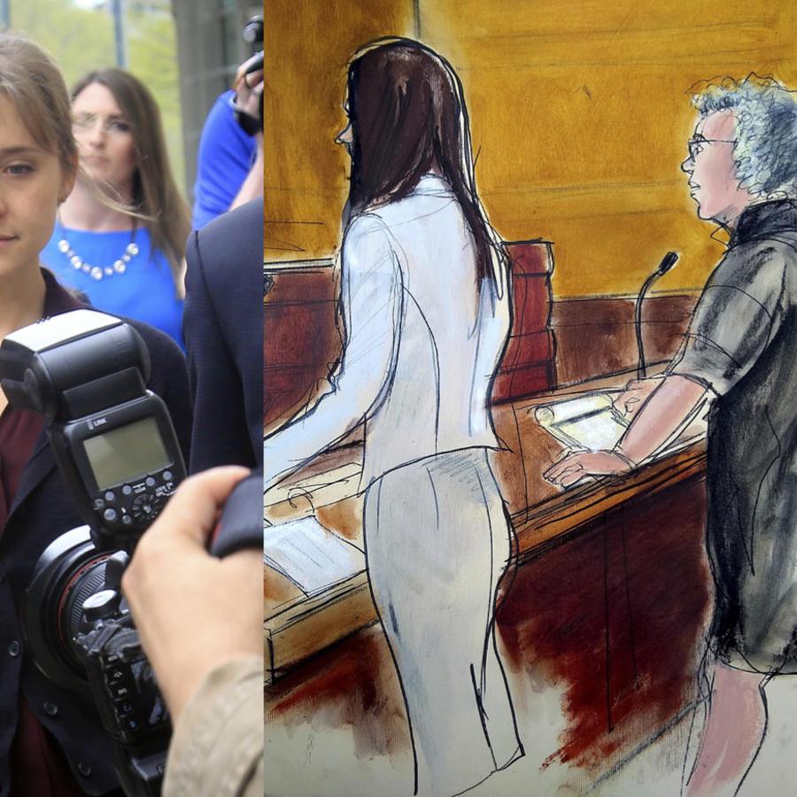 A la derecha, Allison Mack en mayo. A la izquierda, dibujo de la comparecencia ante el juez de Clare Bronfman.
