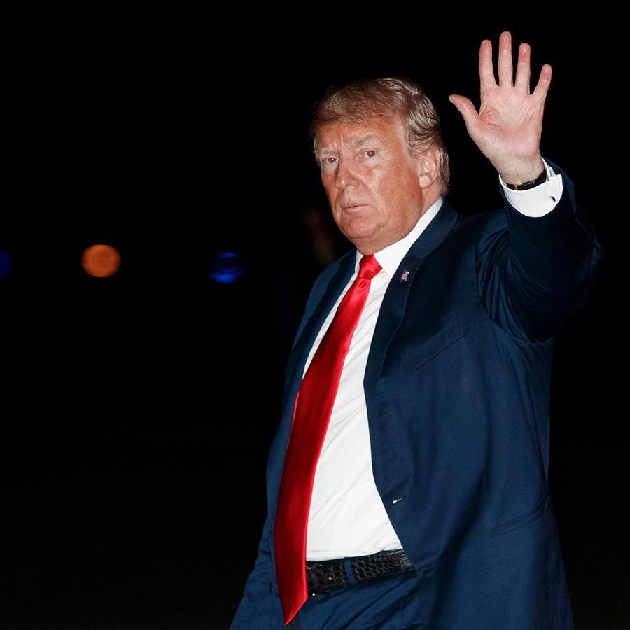 El presidente Trump al llegar a Morristown, New Jersey el sábado 4 de agosto de 2018