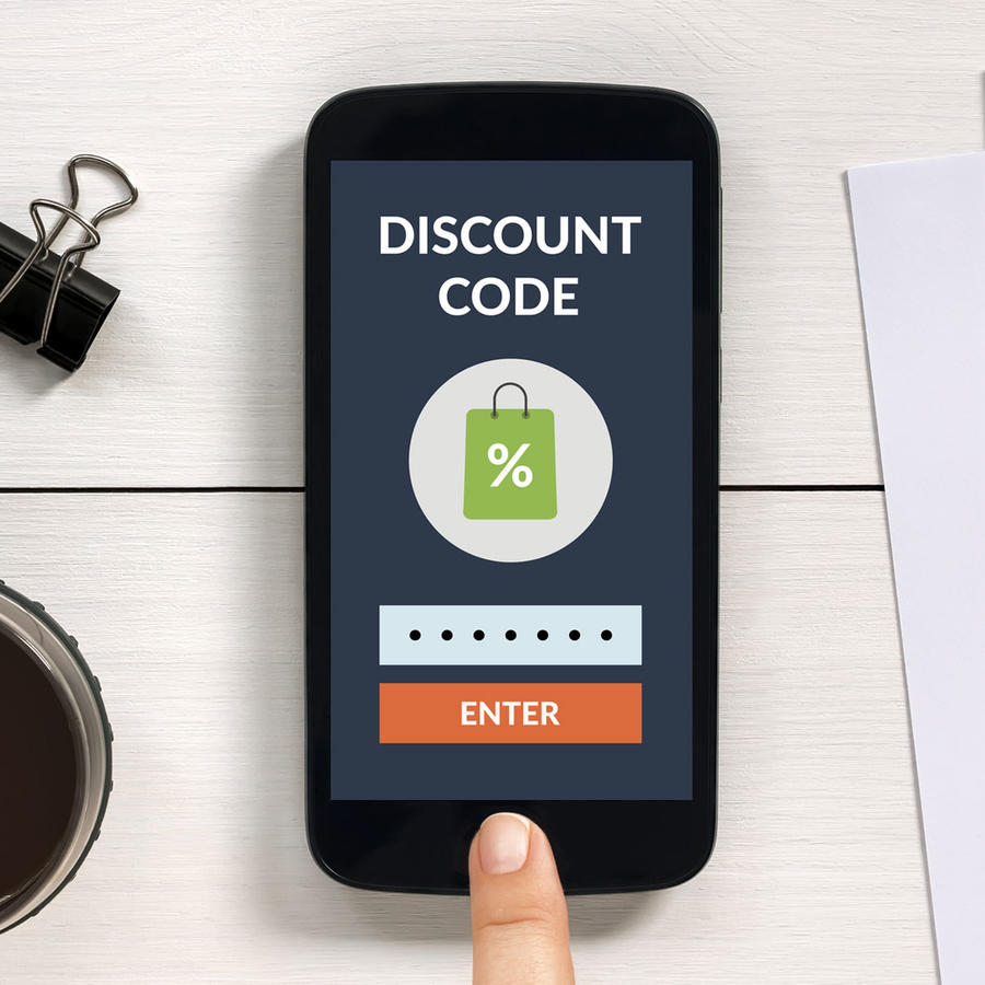 Teléfono móvil con un código de descuento
