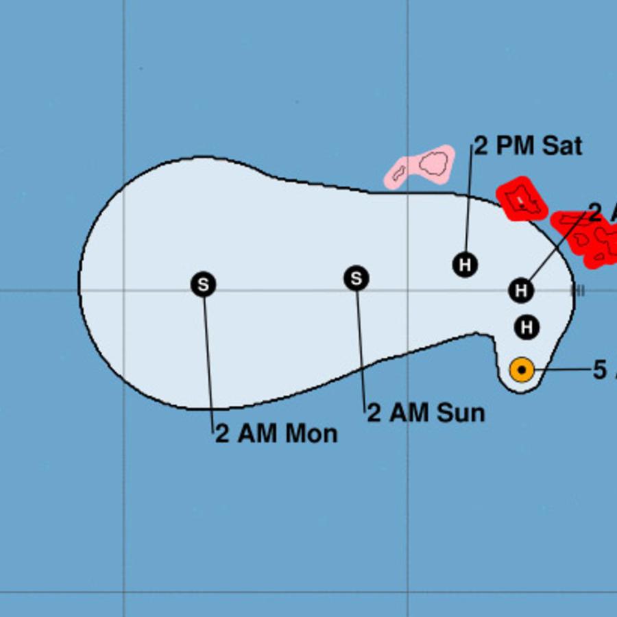 Mapa con la trayectoria del huracán Lane