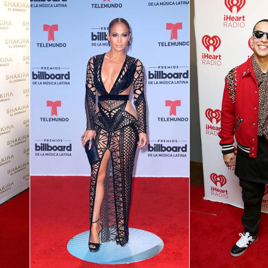 Shakira, Jennifer Lopez, Daddy Yankee collage