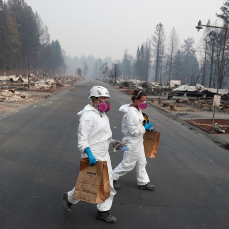 Antropólogas forenses toman muestras este sábado tras el incendio Camp Fire en Paradise, California.