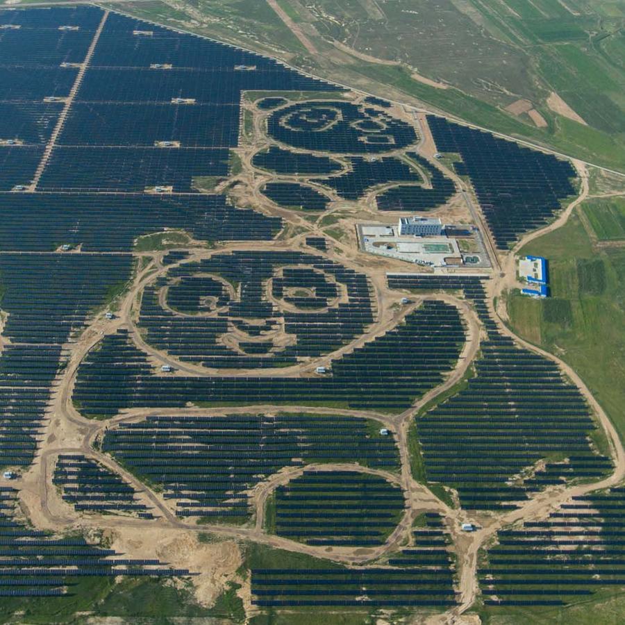 La planta solar con forma de panda