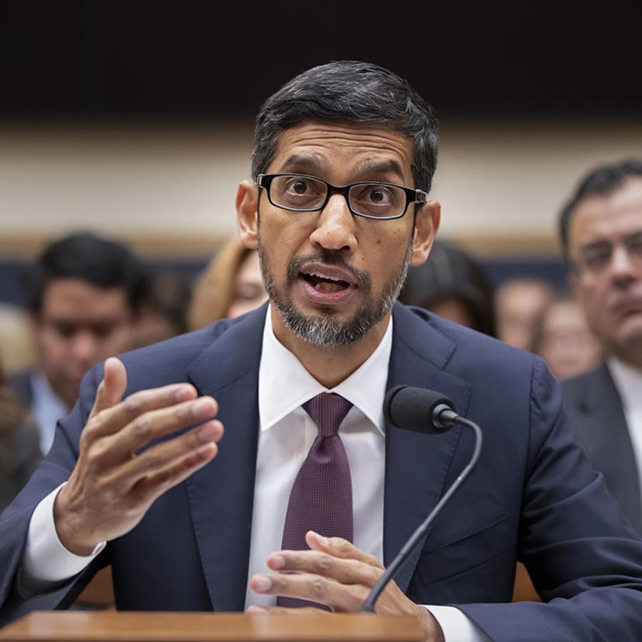 Sundar Pichai, CEO de Google, durante una audiencia en el Comité Judicial de la Cámara de Representantes de Estados Unidos.