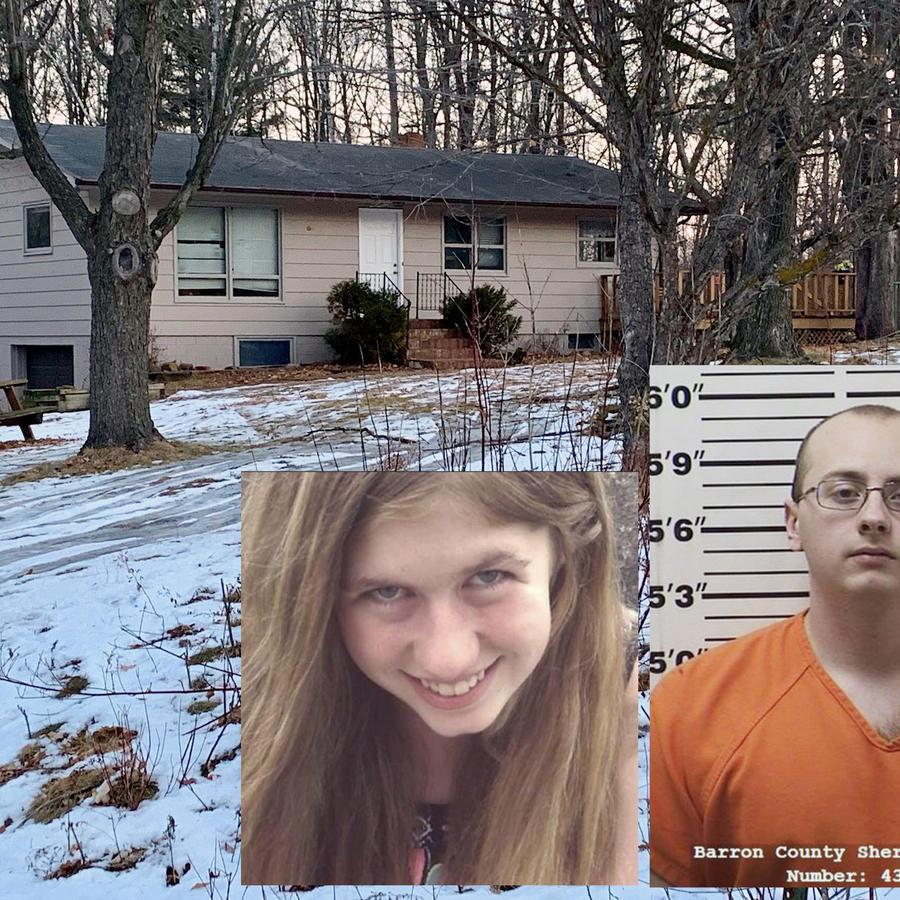 La casa donde fue secuestrada la joven. A la derecha, Jayme Closs y Jake Thomas Patterson.
